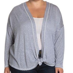 BOBEAU Cecile Striped Tie Front Cardigan Size 1X